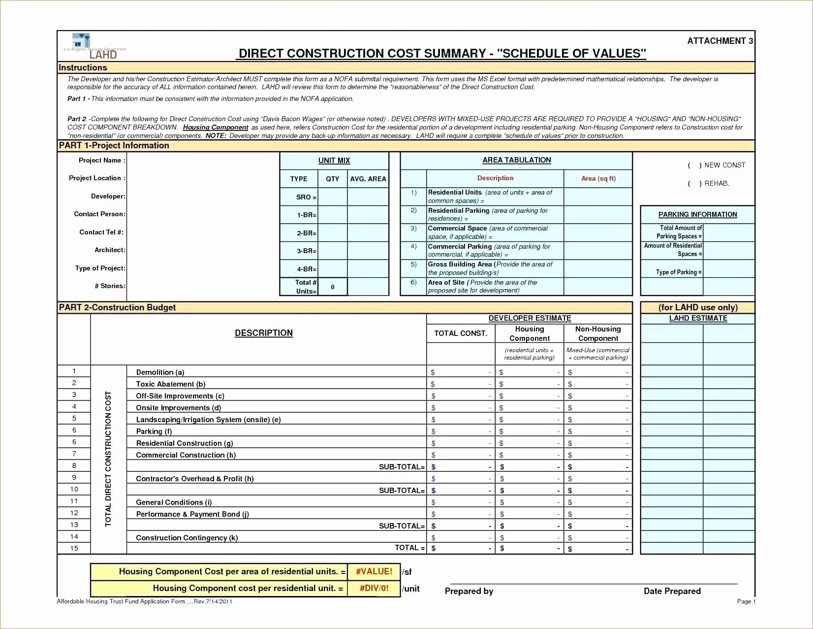Construction Cost Estimate Template Excel Unique Construction Estimate Template Excel