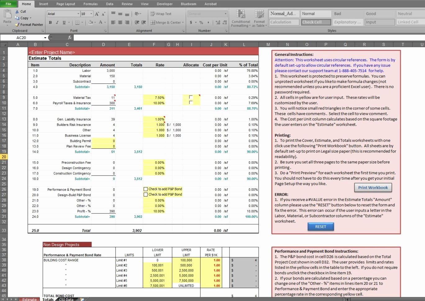 Construction Cost Estimate Template Excel Unique Estimate Spreadsheet Template Spreadsheet Templates for
