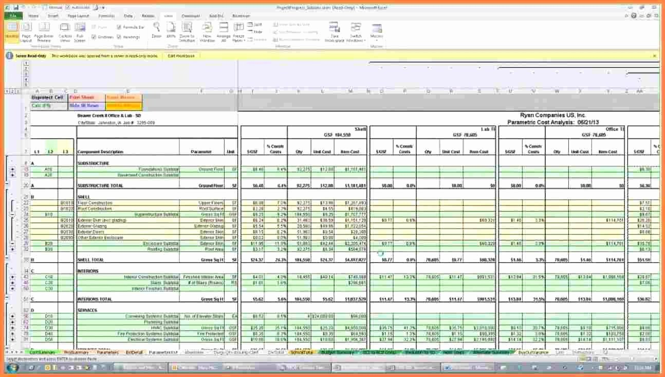 excel spreadsheet construction estimating