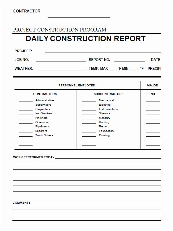 Construction Daily Log Template Elegant 21 Daily Construction Report Templates Pdf Google Docs