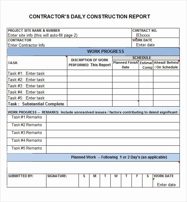 Construction Daily Log Template New Daily Report 7 Free Pdf Doc Download