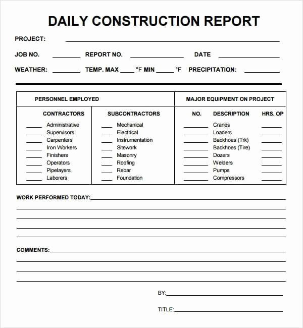 Construction Daily Report Template Excel Fresh 10 Daily Report Templates Word Excel Pdf formats