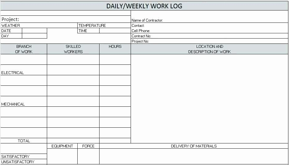 Construction Daily Report Template Excel Fresh Template Work Hours Log Template