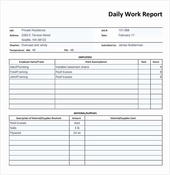 Construction Daily Report Template Excel Inspirational 10 Daily Report Templates Word Excel Pdf formats