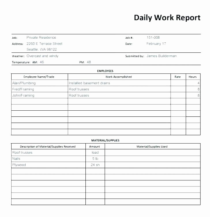 Construction Daily Report Template Excel Inspirational Construction Daily Log Template Driver Log Template