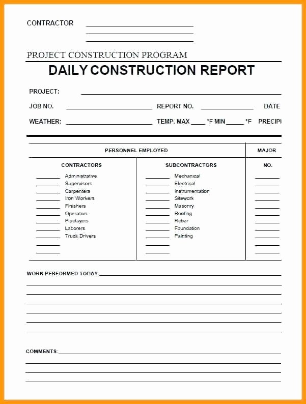 Construction Daily Report Template Excel Lovely Construction Daily Progress Report form Template In Pdf