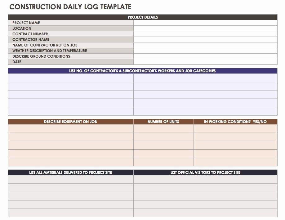 Construction Daily Report Template Excel Luxury Construction Daily Reports Templates or software Smartsheet