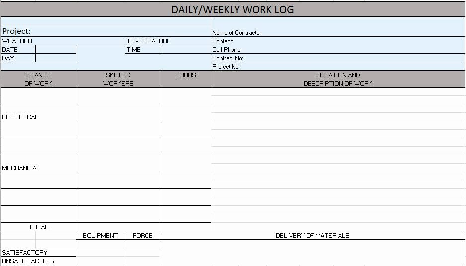 Construction Daily Report Template Excel New Free Construction Project Management Templates In Excel
