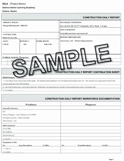 Construction Daily Report Template Excel Unique Template Construction Daily Log Reports Work Report