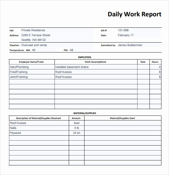 Construction Daily Report Template Luxury 19 Sample Daily Reports