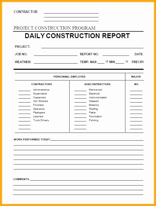 Construction Daily Report Template New Construction Daily Report Template Free Templates for