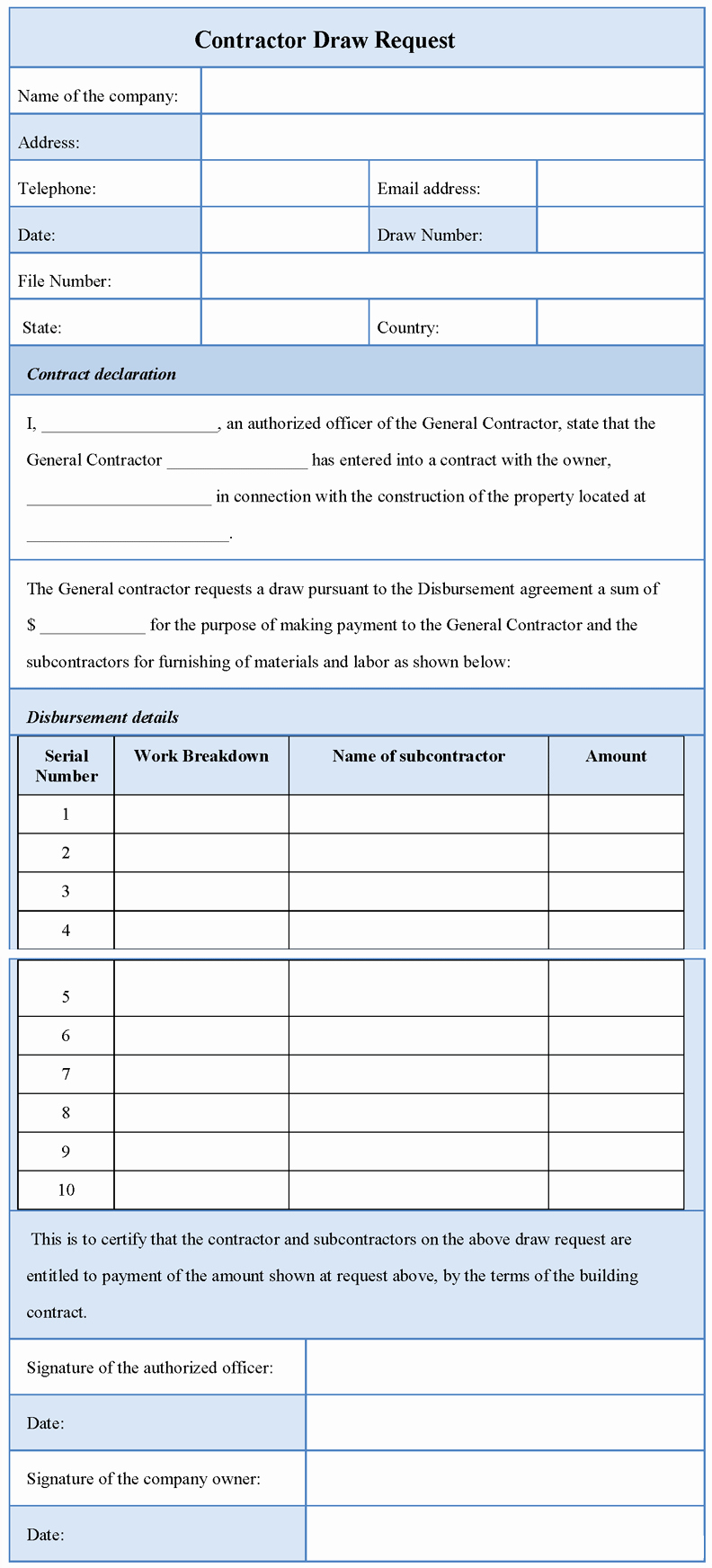 Construction Draw Schedule Template Luxury Printable Contractor Draw Request form