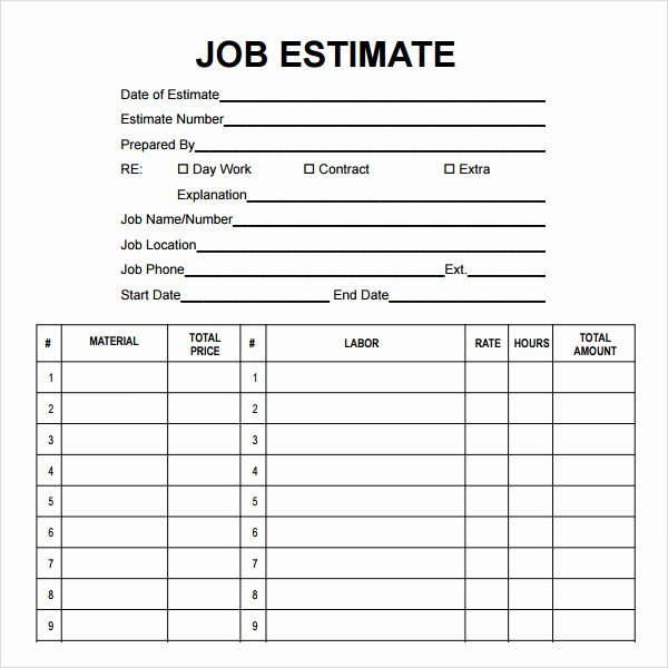 Construction Estimate Template Word Beautiful 12 Sample Job Proposal Templates