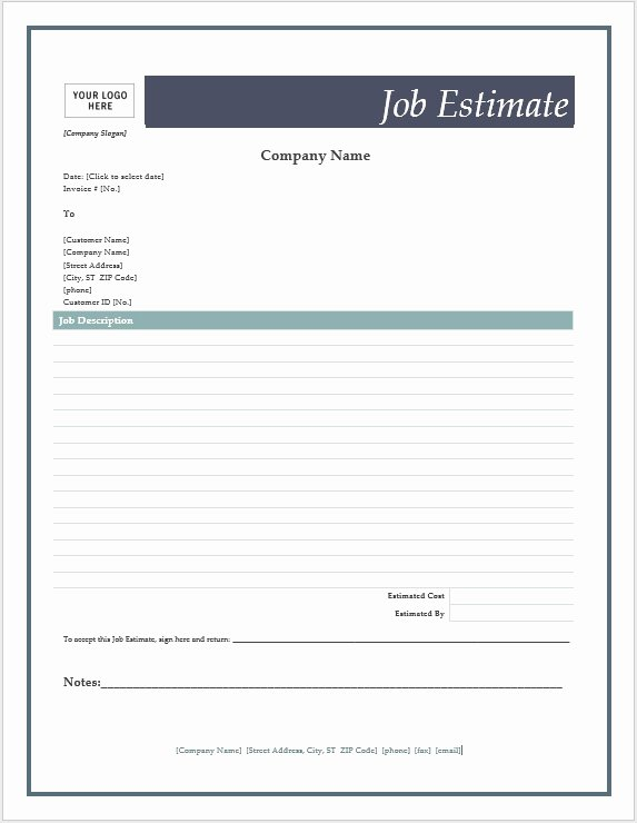 Construction Estimate Template Word New Free Job Estimate forms – Microsoft Word Templates