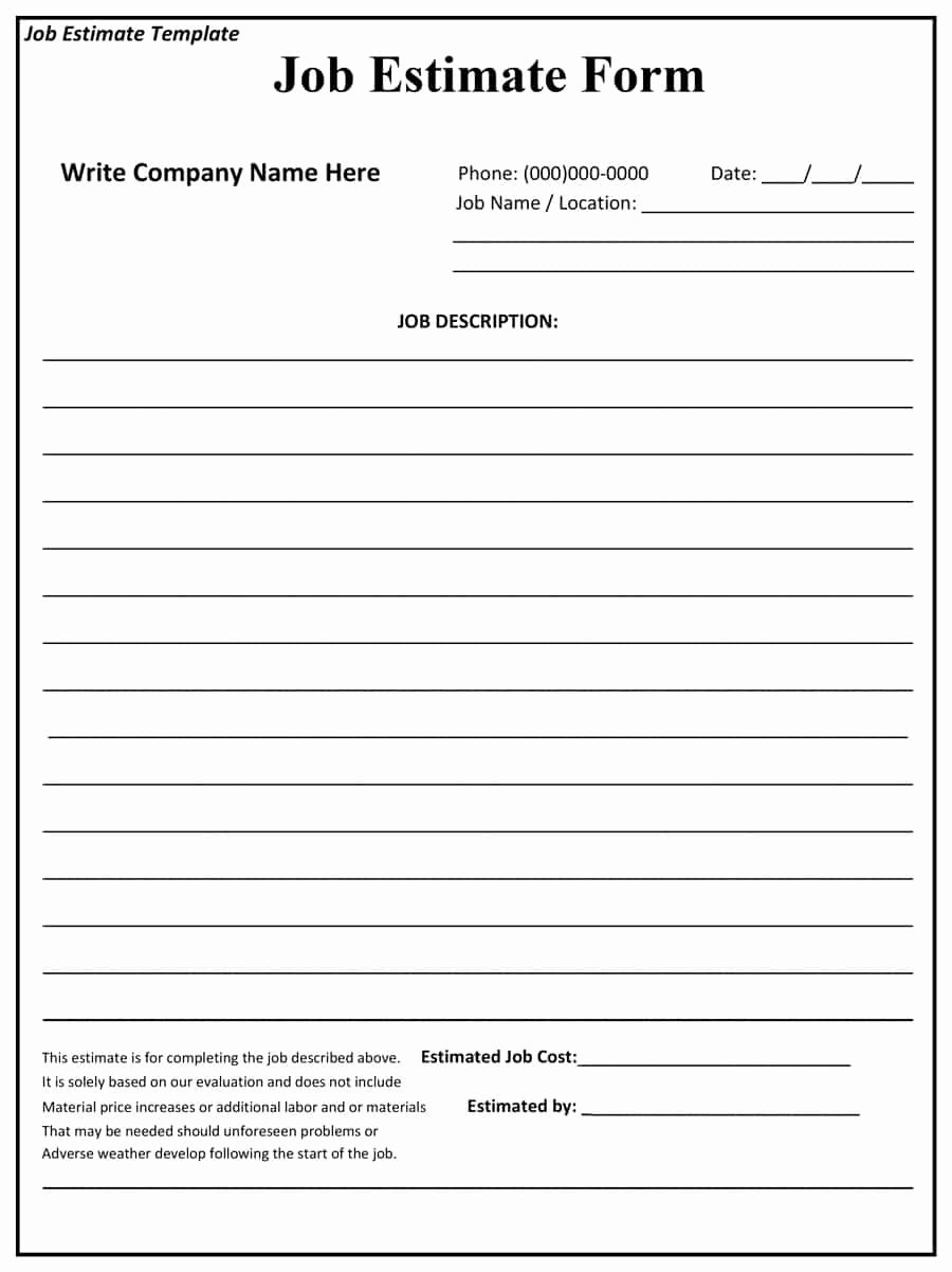 Construction Estimate Template Word Unique 44 Free Estimate Template forms [construction Repair