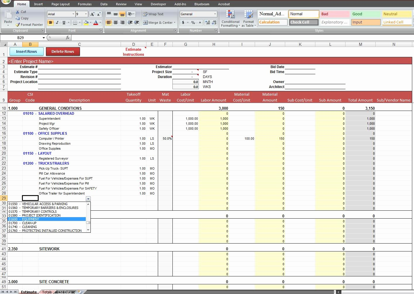 Construction Estimating Spreadsheet Template Elegant General Construction Estimate Template