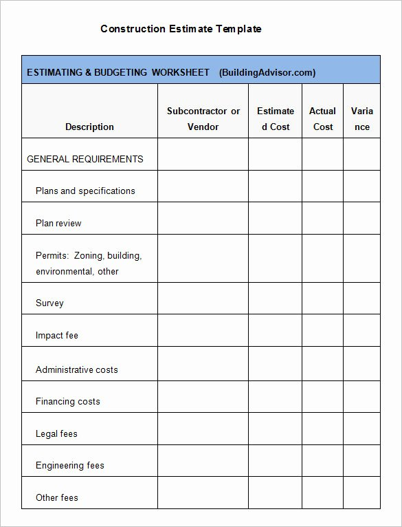 Construction Estimating Spreadsheet Template Fresh 5 Construction Estimate Templates Pdf Doc Excel