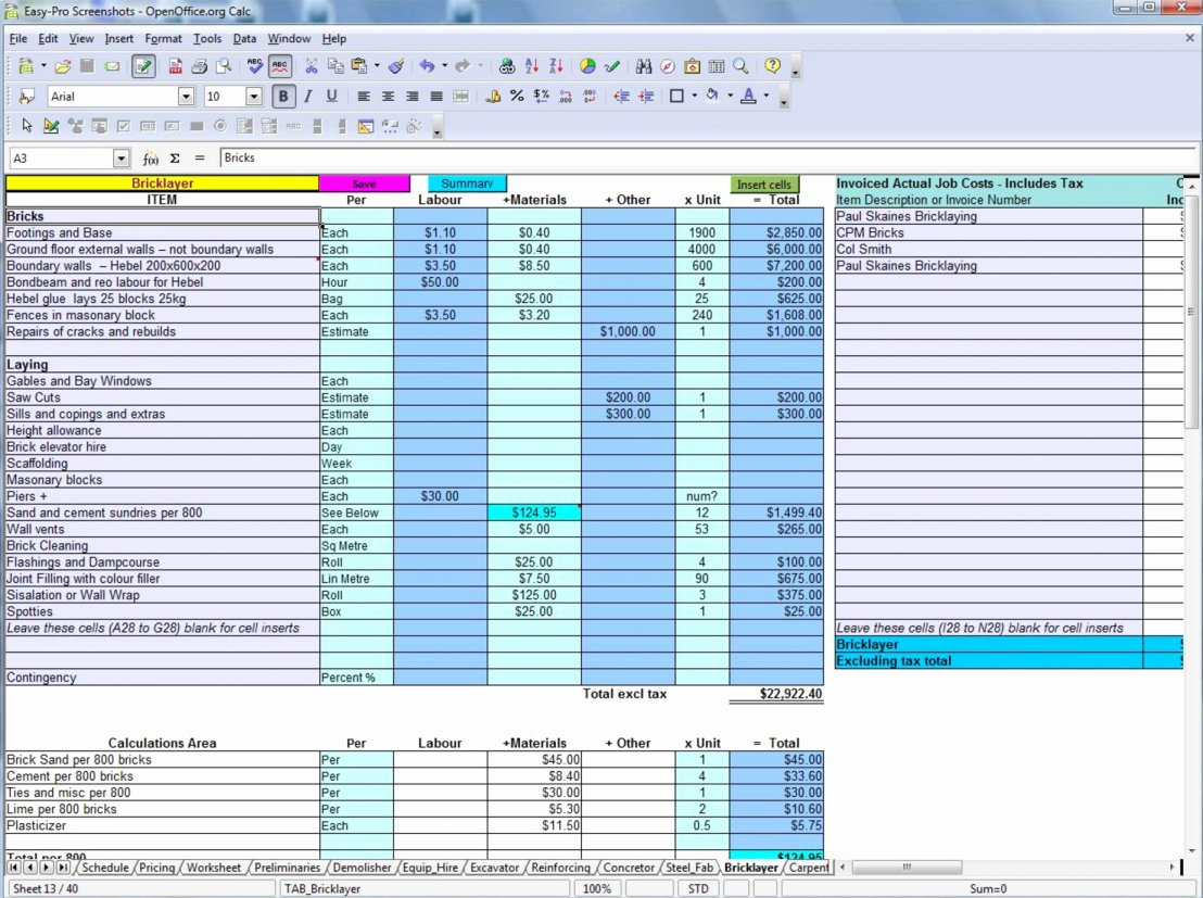 Construction Estimating Spreadsheet Template Fresh Construction Estimate Template Free Download Example Of
