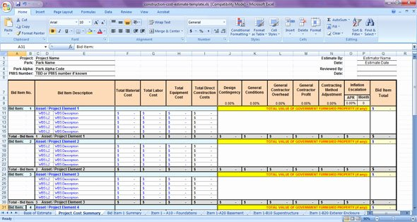 Construction Estimating Spreadsheet Template Unique Construction Cost Estimate Template
