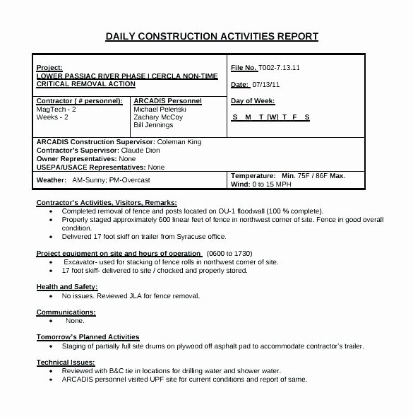 Construction Field Report Template Best Of Construction Daily Field Report Template Word