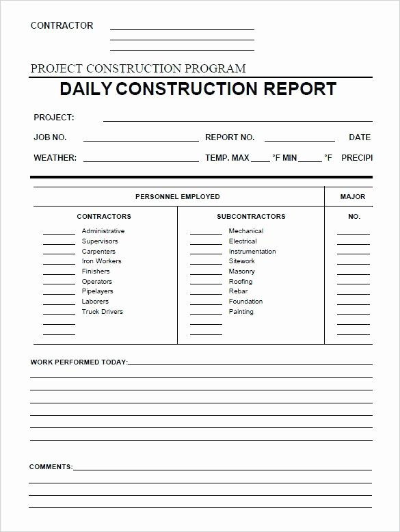 Construction Field Report Template Fresh Daily Report Template – theoutdoors