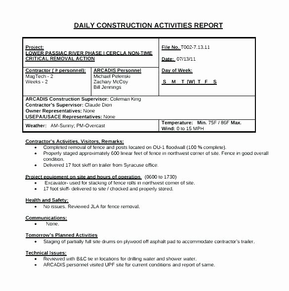 Construction Field Report Template Unique Observation Report Template Internship Building Field