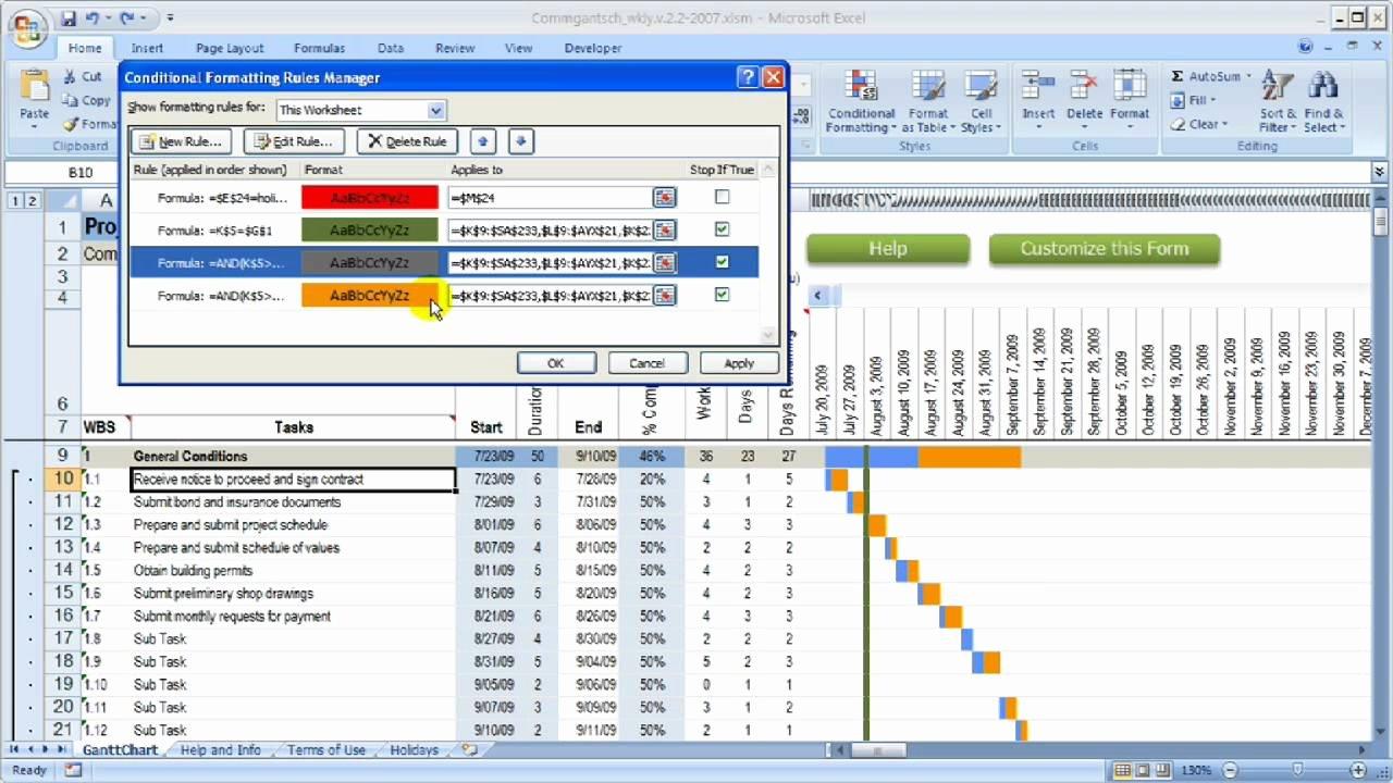 Construction Gantt Chart Excel Template Best Of Change Colors In Gantt Chart Construction Schedule Using