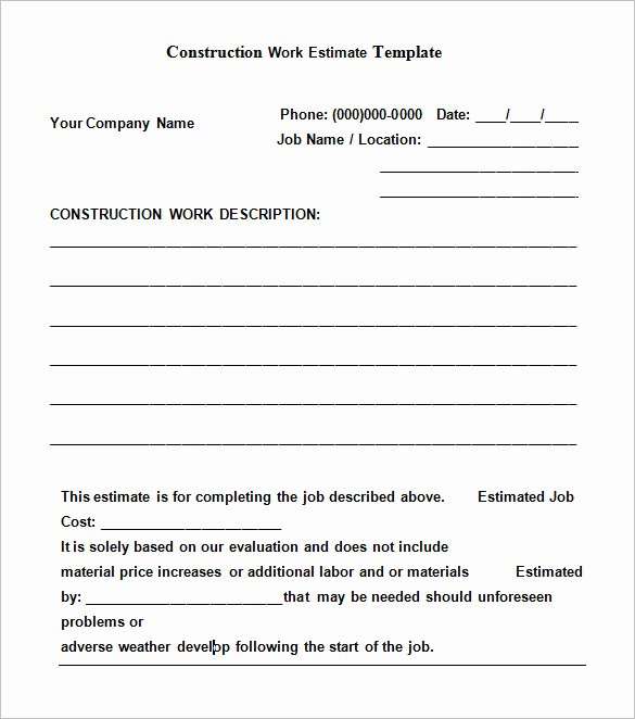 Construction Job Estimate Template Awesome 6 Work Estimate Templates – Free Word & Excel formats
