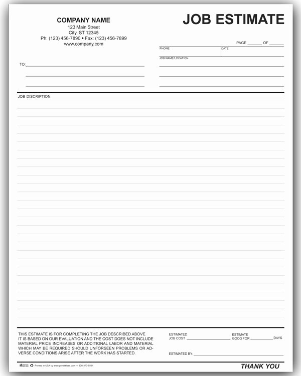 Construction Job Estimate Template Beautiful 7 Best Of Free Printable Estimate Template
