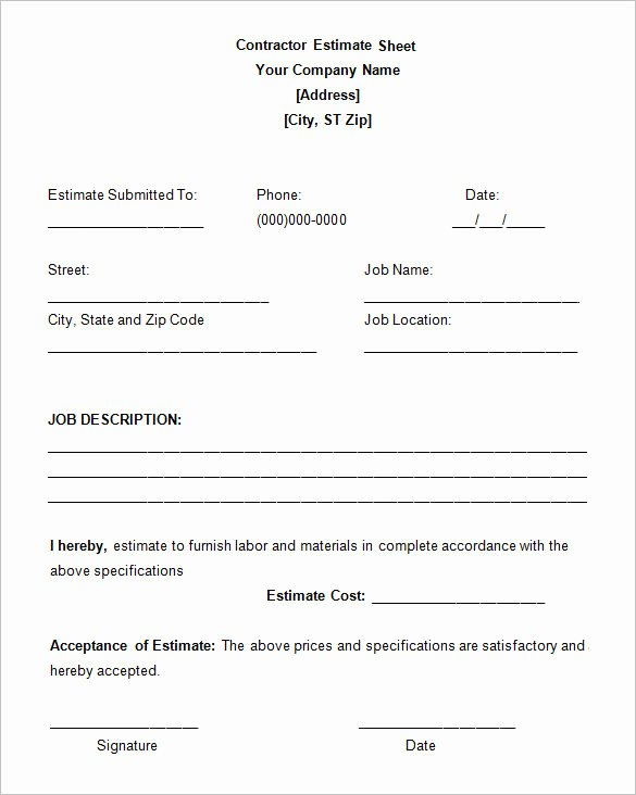 Construction Job Estimate Template Best Of 6 Contractor Estimate Templates Pdf Doc