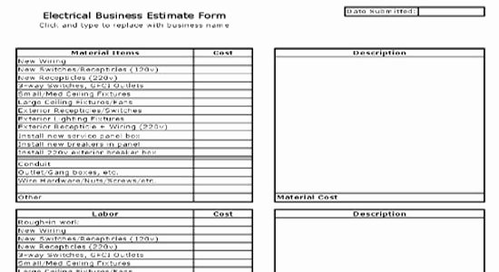 Construction Job Estimate Template Best Of Electrical Estimate Sheet Free Electrical Estimate