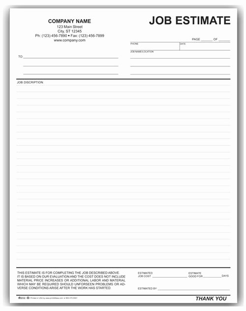 Construction Job Estimate Template Elegant 27 Of Gutter Estimate Template Printable