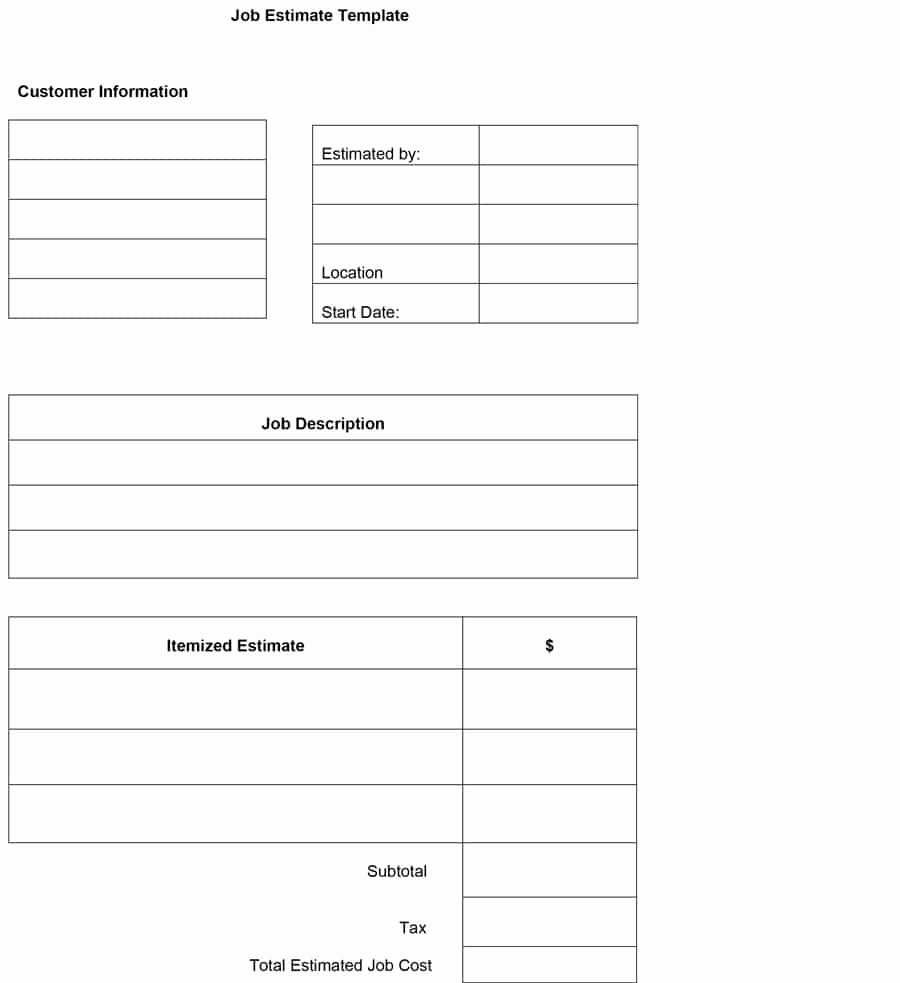 Construction Job Estimate Template Fresh 44 Free Estimate Template forms [construction Repair