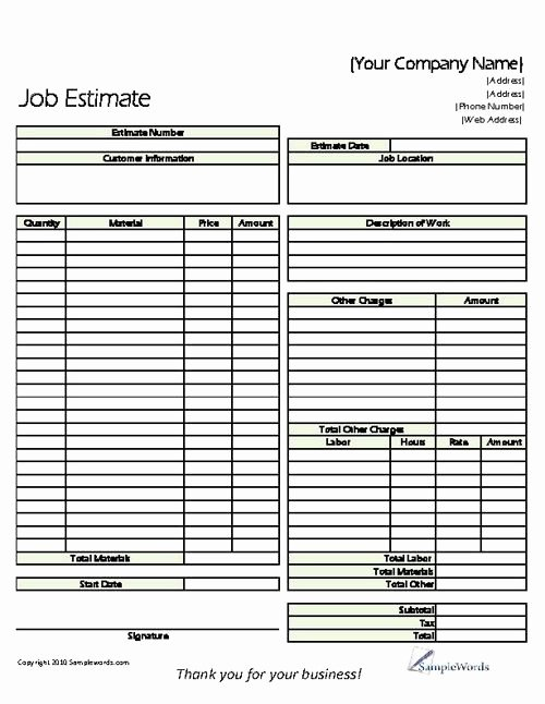 Construction Job Estimate Template Fresh Classic Job Estimate form Business forms
