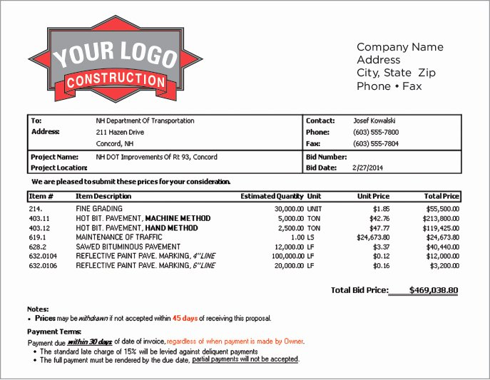 Construction Job Estimate Template Luxury Construction Estimating software Job & Project Bidding