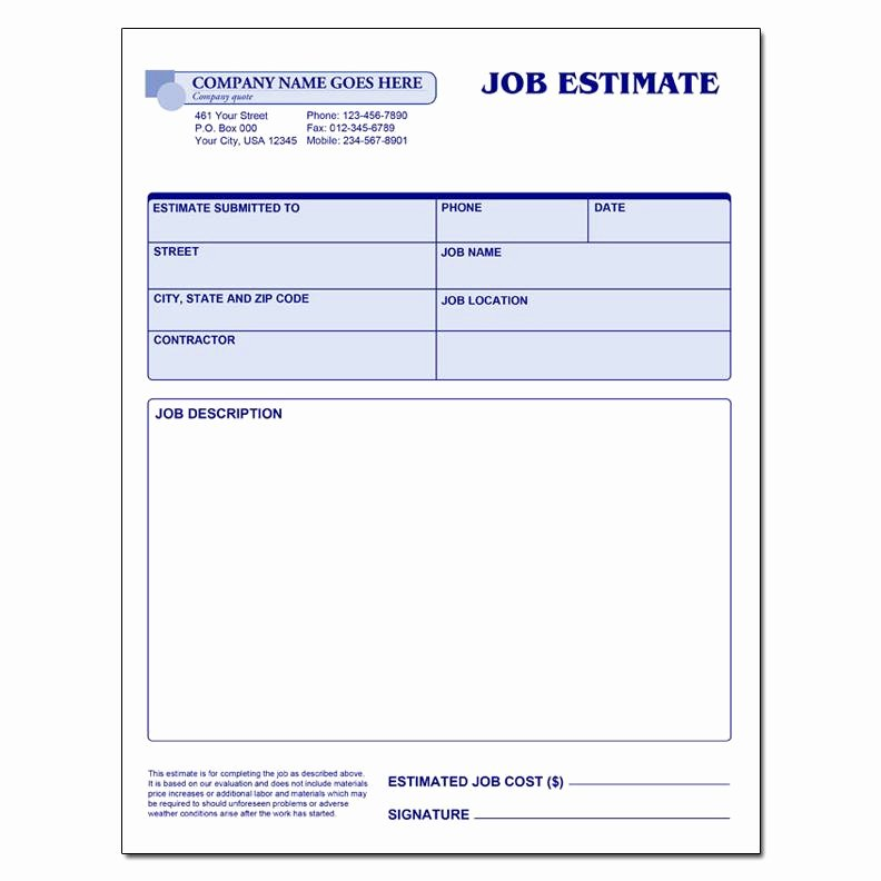 Construction Job Estimate Template New General Invoice forms Carbonless Printing