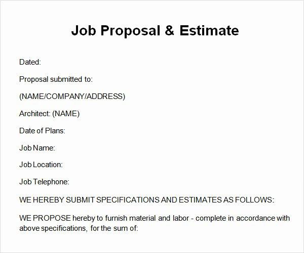 Construction Job Proposal Template Inspirational 12 Sample Job Proposal Templates