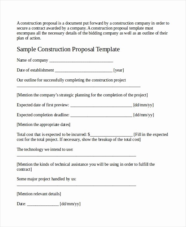 Construction Job Proposal Template Luxury Job Proposal Template 18 Free Word Pdf Document