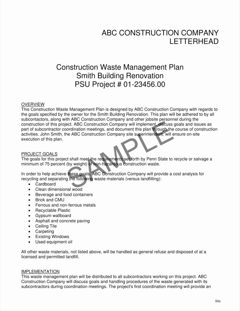 Construction Management Plan Template Awesome 9 Contractor Letterhead Templates