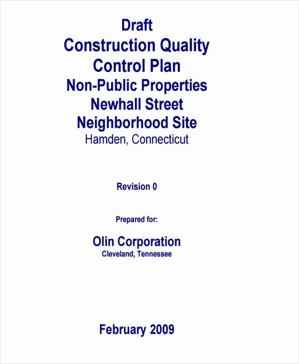 Construction Management Plan Template Beautiful 9 Quality Management Plan Templates Free Pdf Word