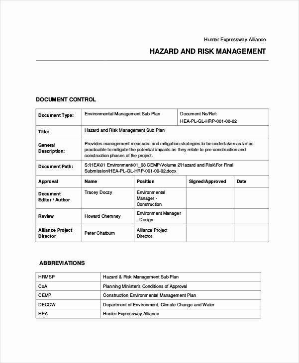 Construction Management Plan Template Fresh 31 Risk Plan Examples & Samples Pdf Word Pages