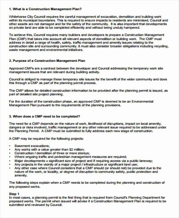 Construction Management Plan Template Fresh 42 Management Plan Templates Pdf Word