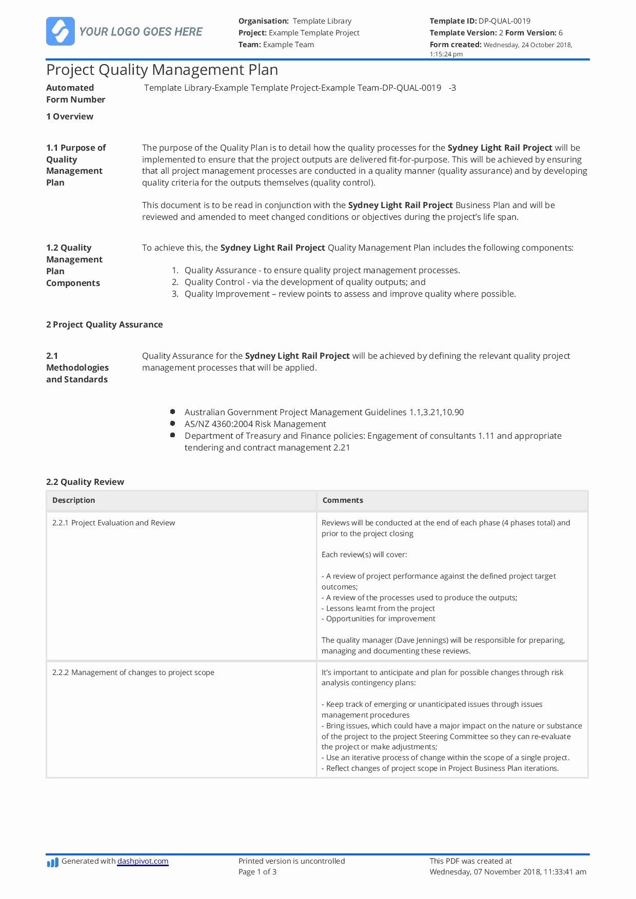 Construction Management Plan Template Unique Construction Quality Management Plan [free and