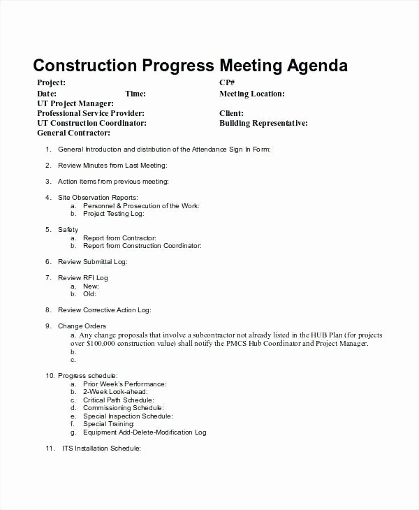 Construction Meeting Agenda Template Fresh Construction Meeting Agenda Template Kick F Progress