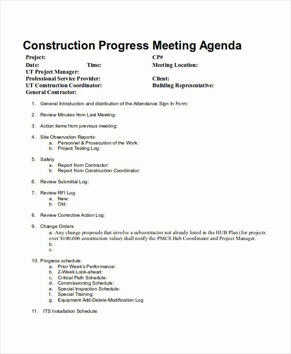 Construction Meeting Agenda Template Lovely 10 Meeting Agenda Samples Free Sample Example format