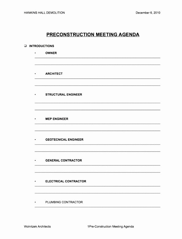Construction Meeting Agenda Template Unique 5 Pre Construction Meeting Agenda Template Eiyye