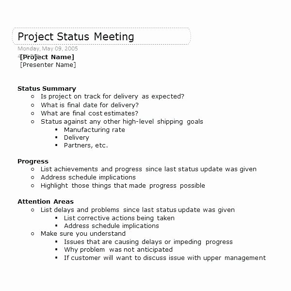 Construction Meeting Agenda Template Unique Keep Your Next Project Status Meeting Track