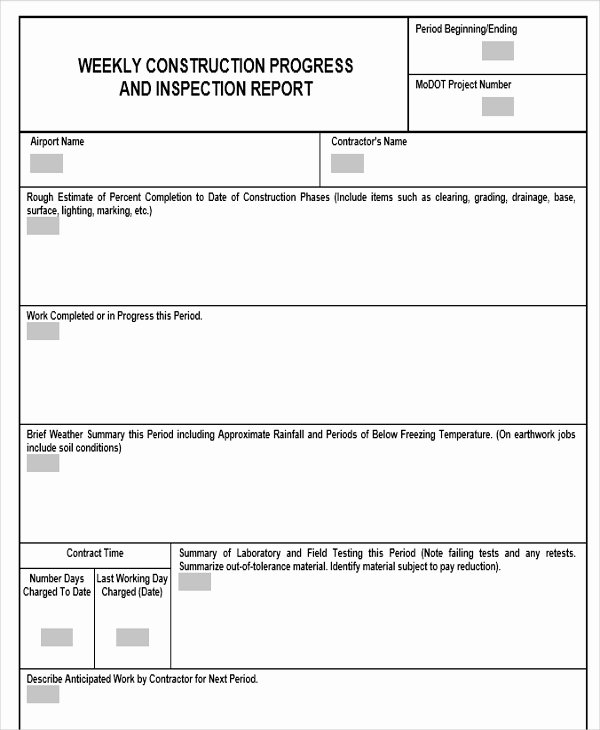 Construction Progress Report Template Best Of 22 Weekly Report Templates In Word
