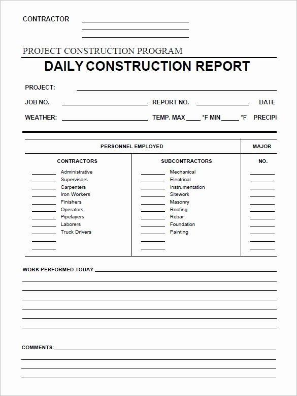 Construction Progress Report Template Lovely Daily Construction Report Template 25 Free Word Pdf