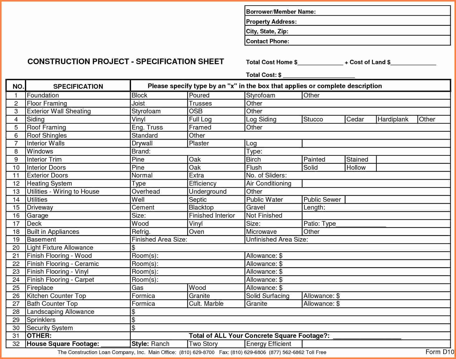 Construction Project Budget Template Fresh 3 Home Construction Bud Spreadsheet
